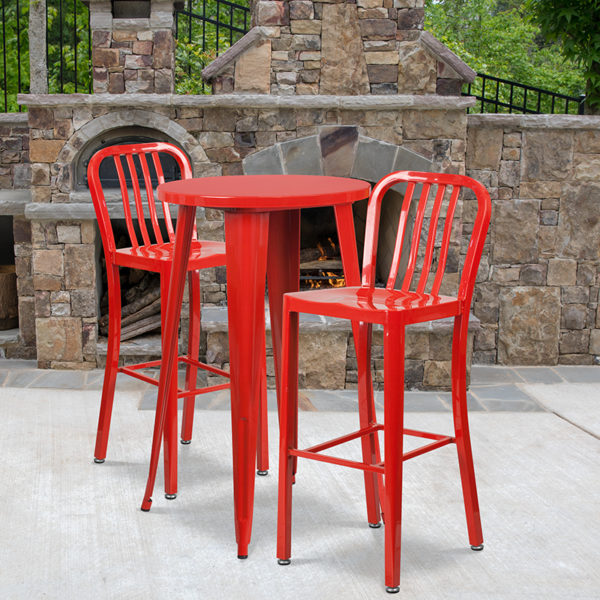 Wholesale 24'' Round Red Metal Indoor-Outdoor Bar Table Set with 2 Vertical Slat Back Stools