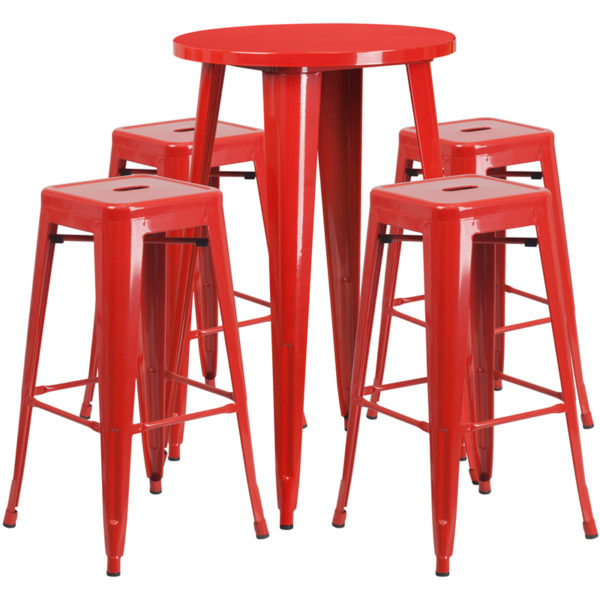 Lowest Price 24'' Round Red Metal Indoor-Outdoor Bar Table Set with 4 Square Seat Backless Stools