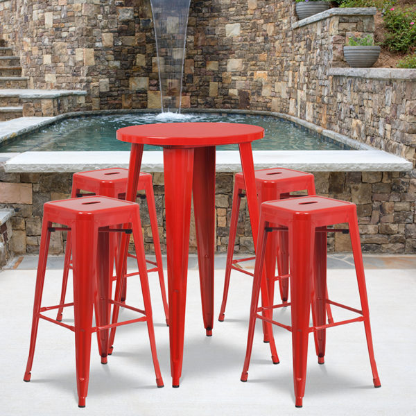 Wholesale 24'' Round Red Metal Indoor-Outdoor Bar Table Set with 4 Square Seat Backless Stools
