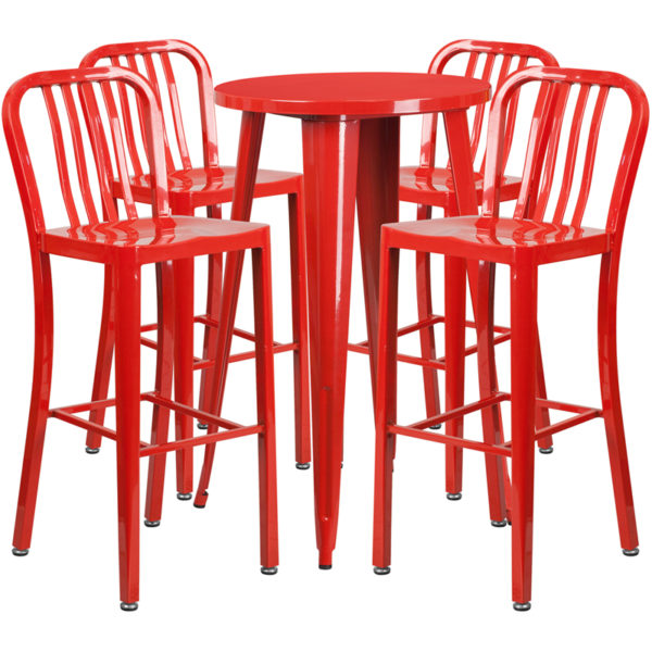 Lowest Price 24'' Round Red Metal Indoor-Outdoor Bar Table Set with 4 Vertical Slat Back Stools