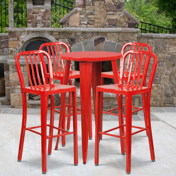 Wholesale 24'' Round Red Metal Indoor-Outdoor Bar Table Set with 4 Vertical Slat Back Stools
