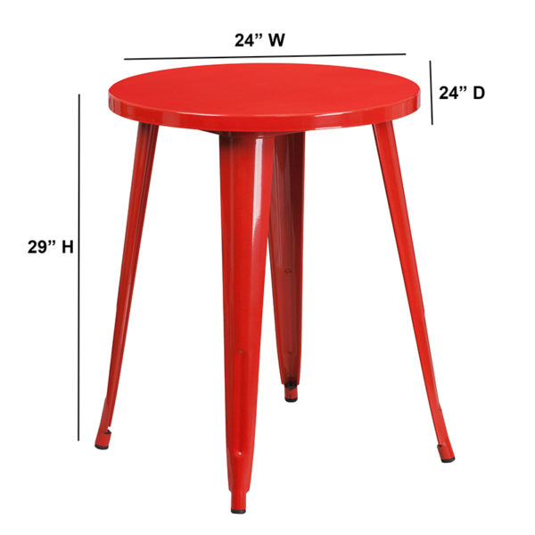 Lowest Price 24'' Round Red Metal Indoor-Outdoor Table