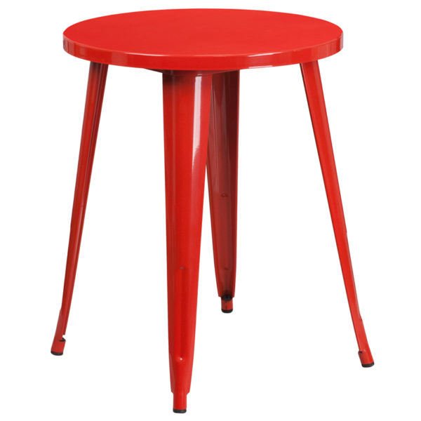 Wholesale 24'' Round Red Metal Indoor-Outdoor Table