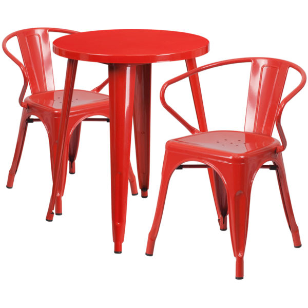 Wholesale 24'' Round Red Metal Indoor-Outdoor Table Set with 2 Arm Chairs