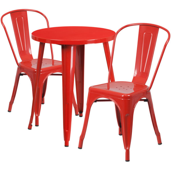 Wholesale 24'' Round Red Metal Indoor-Outdoor Table Set with 2 Cafe Chairs