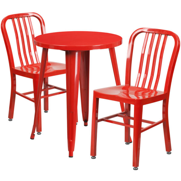 Wholesale 24'' Round Red Metal Indoor-Outdoor Table Set with 2 Vertical Slat Back Chairs