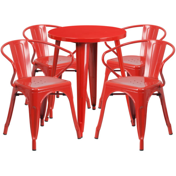 Wholesale 24'' Round Red Metal Indoor-Outdoor Table Set with 4 Arm Chairs