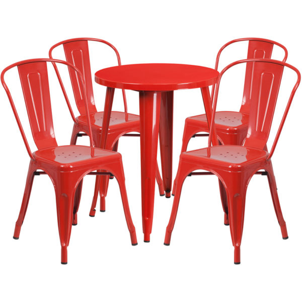 Wholesale 24'' Round Red Metal Indoor-Outdoor Table Set with 4 Cafe Chairs