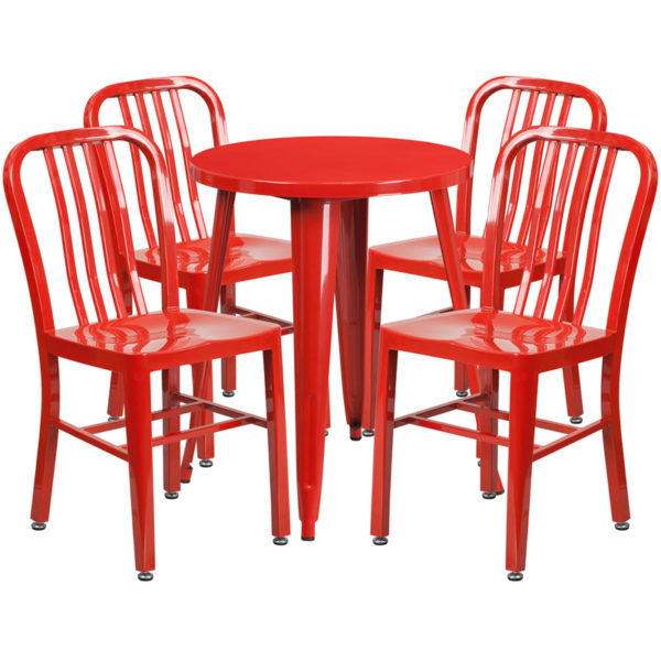 Wholesale 24'' Round Red Metal Indoor-Outdoor Table Set with 4 Vertical Slat Back Chairs