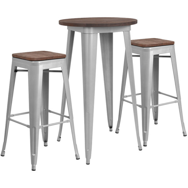 """Wholesale 24"""" Round Silver Metal Bar Table Set with Wood Top and 2 Backless Stools"""
