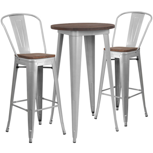 "Wholesale 24"" Round Silver Metal Bar Table Set with Wood Top and 2 Stools"