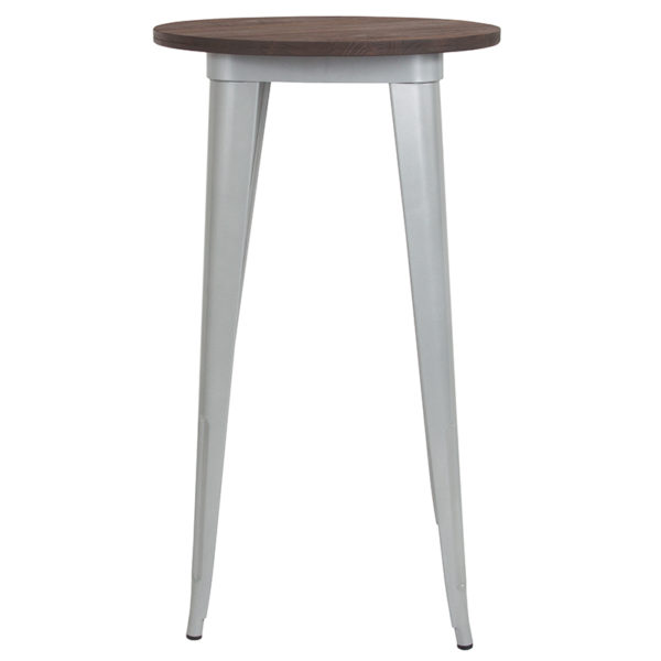 """Lowest Price 24"""" Round Silver Metal Indoor Bar Height Table with Walnut Rustic Wood Top"""
