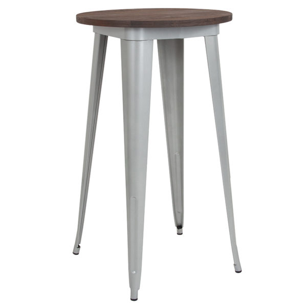 """Wholesale 24"""" Round Silver Metal Indoor Bar Height Table with Walnut Rustic Wood Top"""
