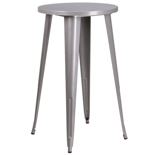 Wholesale 24'' Round Silver Metal Indoor-Outdoor Bar Height Table
