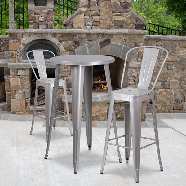 Wholesale 24'' Round Silver Metal Indoor-Outdoor Bar Table Set with 2 Cafe Stools