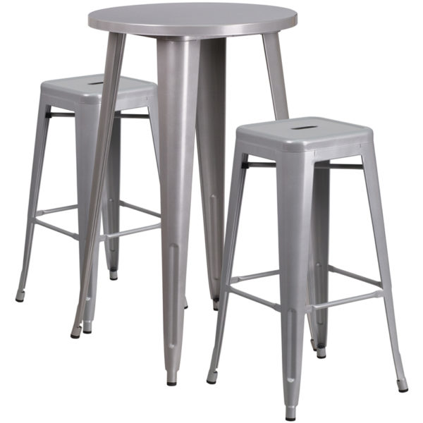 Lowest Price 24'' Round Silver Metal Indoor-Outdoor Bar Table Set with 2 Square Seat Backless Stools