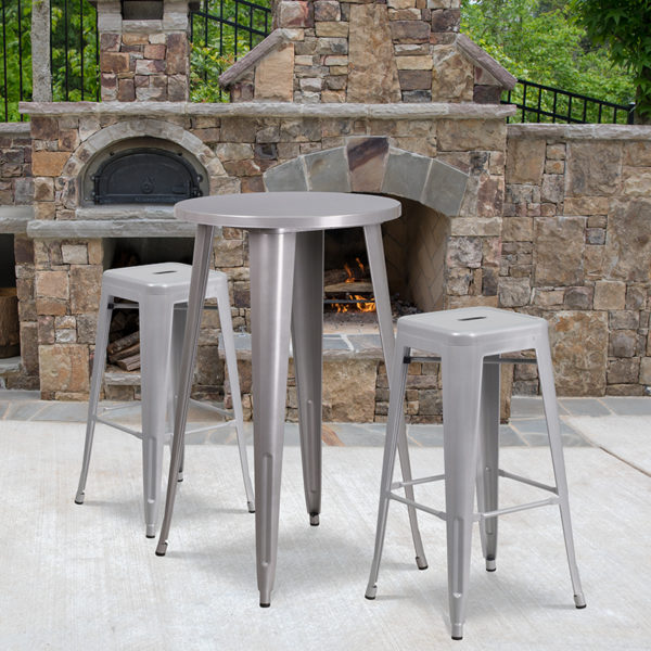 Wholesale 24'' Round Silver Metal Indoor-Outdoor Bar Table Set with 2 Square Seat Backless Stools