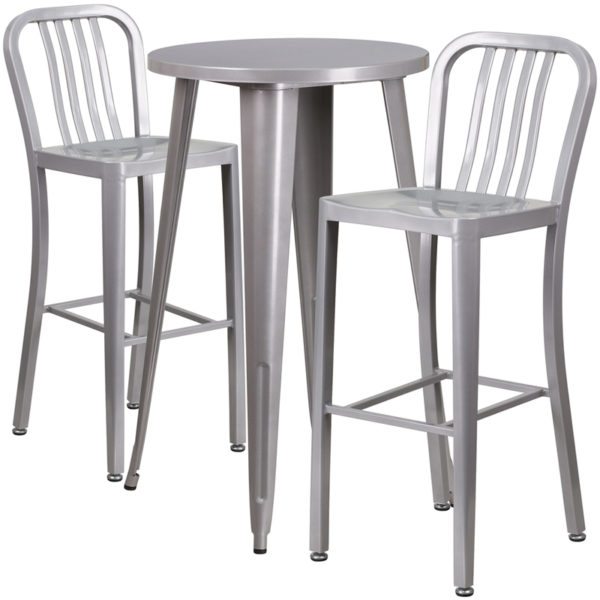 Lowest Price 24'' Round Silver Metal Indoor-Outdoor Bar Table Set with 2 Vertical Slat Back Stools