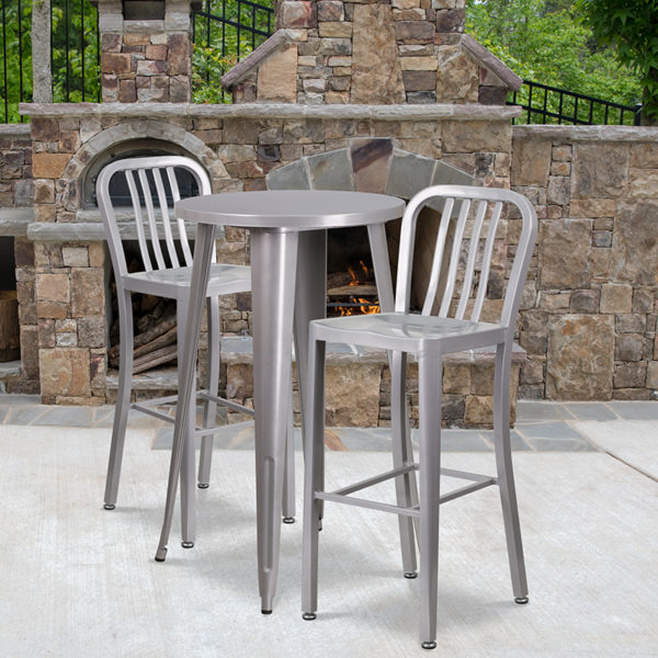 Wholesale 24'' Round Silver Metal Indoor-Outdoor Bar Table Set with 2 Vertical Slat Back Stools