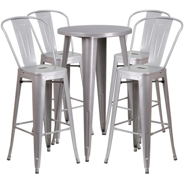 Lowest Price 24'' Round Silver Metal Indoor-Outdoor Bar Table Set with 4 Cafe Stools