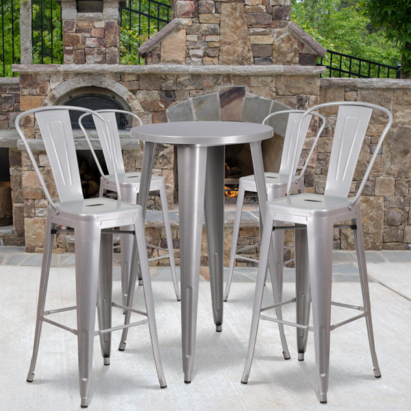 Wholesale 24'' Round Silver Metal Indoor-Outdoor Bar Table Set with 4 Cafe Stools