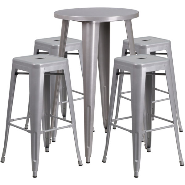 Lowest Price 24'' Round Silver Metal Indoor-Outdoor Bar Table Set with 4 Square Seat Backless Stools