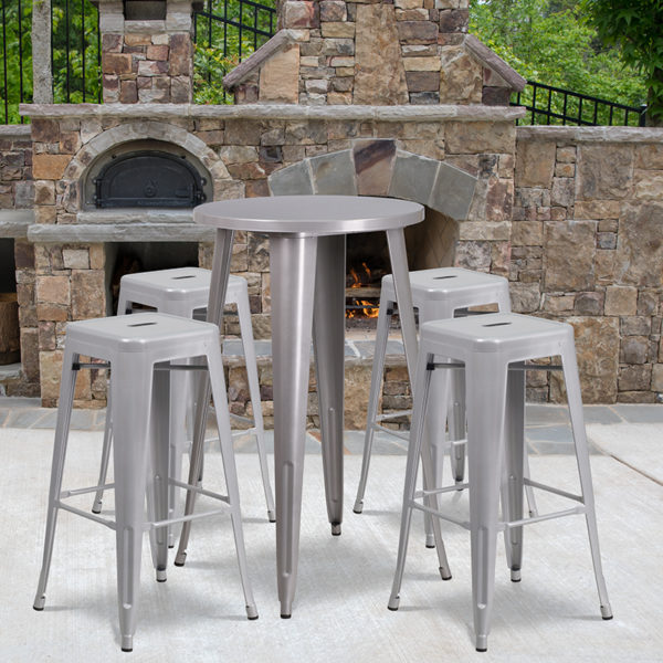 Wholesale 24'' Round Silver Metal Indoor-Outdoor Bar Table Set with 4 Square Seat Backless Stools