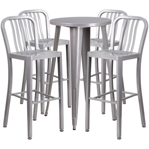 Lowest Price 24'' Round Silver Metal Indoor-Outdoor Bar Table Set with 4 Vertical Slat Back Stools