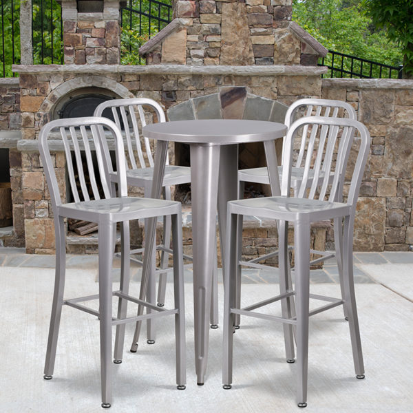 Wholesale 24'' Round Silver Metal Indoor-Outdoor Bar Table Set with 4 Vertical Slat Back Stools