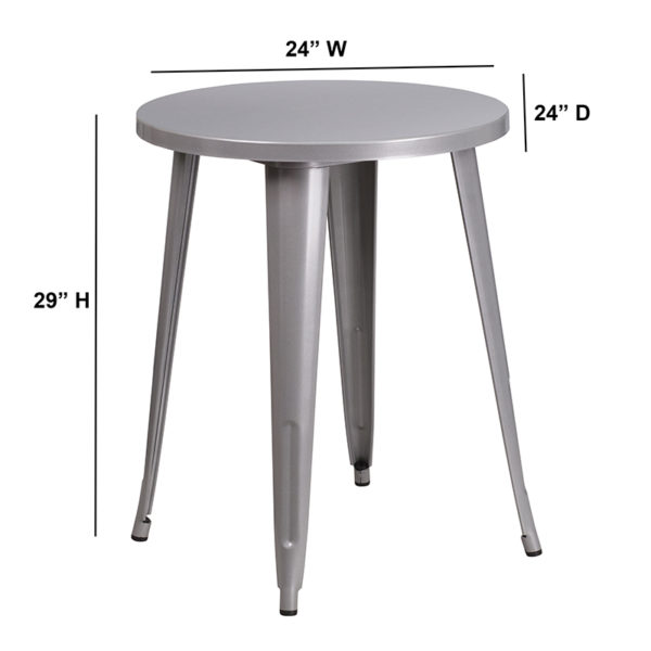 Lowest Price 24'' Round Silver Metal Indoor-Outdoor Table
