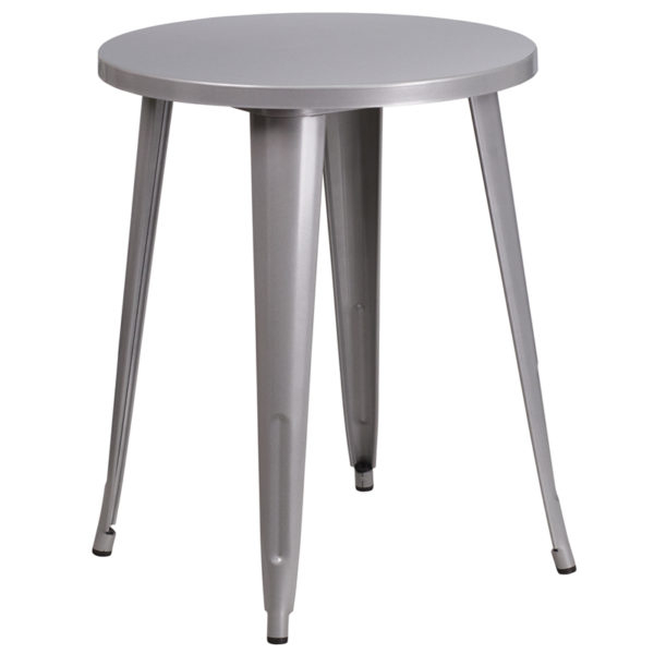 Wholesale 24'' Round Silver Metal Indoor-Outdoor Table