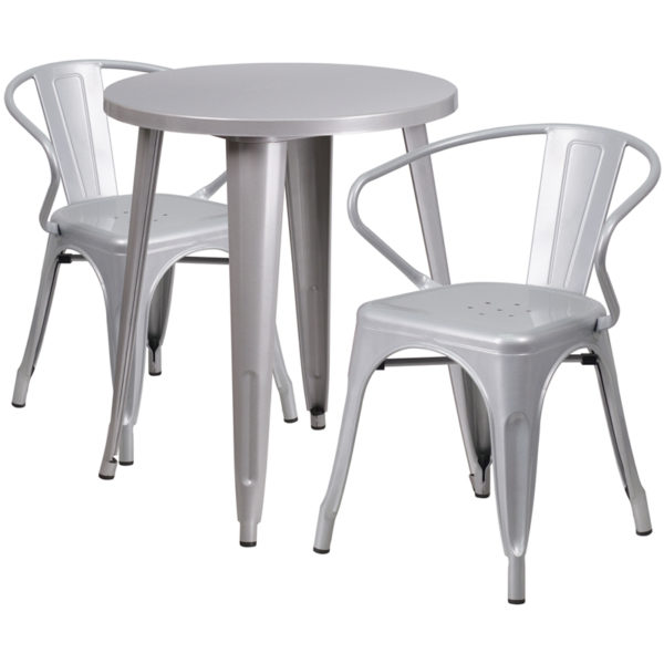 Wholesale 24'' Round Silver Metal Indoor-Outdoor Table Set with 2 Arm Chairs