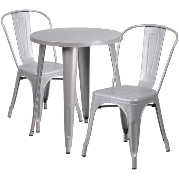 Wholesale 24'' Round Silver Metal Indoor-Outdoor Table Set with 2 Cafe Chairs