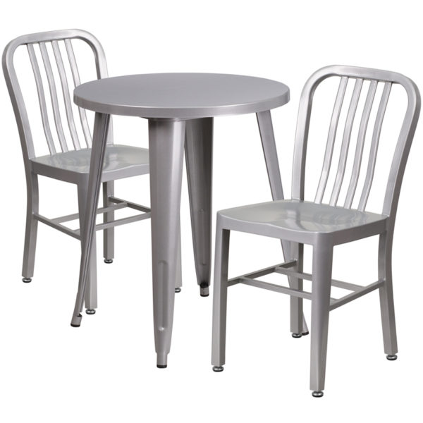 Wholesale 24'' Round Silver Metal Indoor-Outdoor Table Set with 2 Vertical Slat Back Chairs