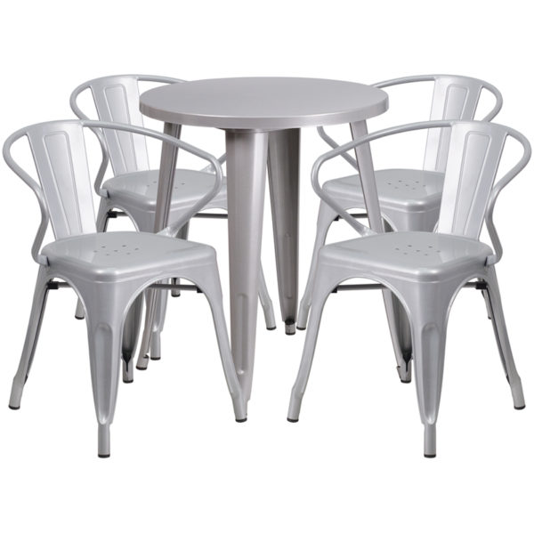 Wholesale 24'' Round Silver Metal Indoor-Outdoor Table Set with 4 Arm Chairs