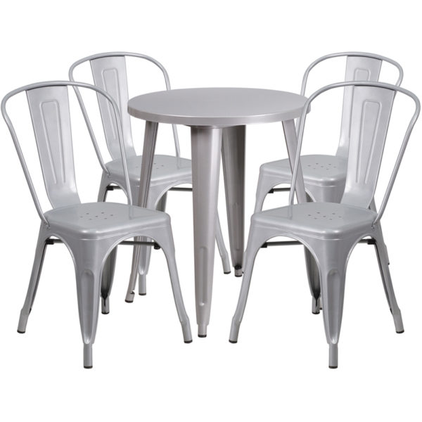 Wholesale 24'' Round Silver Metal Indoor-Outdoor Table Set with 4 Cafe Chairs
