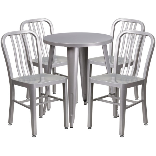 Wholesale 24'' Round Silver Metal Indoor-Outdoor Table Set with 4 Vertical Slat Back Chairs