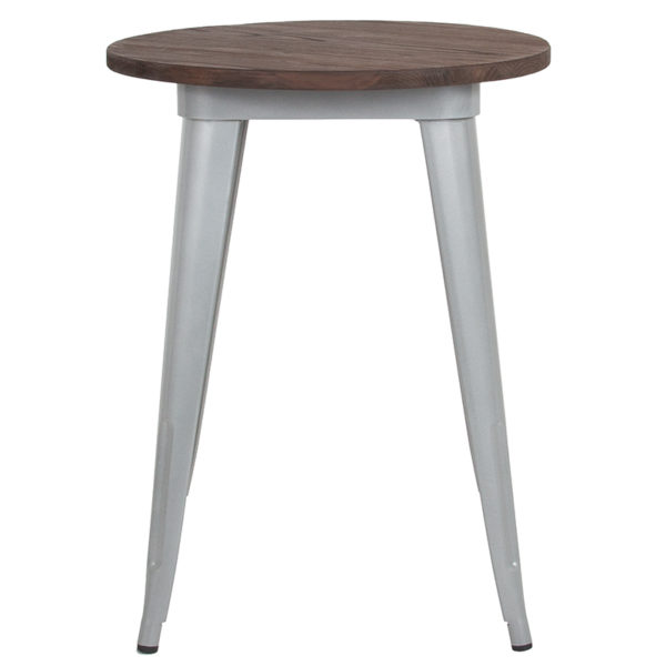"""Lowest Price 24"""" Round Silver Metal Indoor Table with Walnut Rustic Wood Top"""
