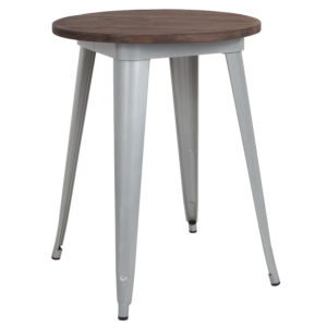 "Wholesale 24"" Round Silver Metal Indoor Table with Walnut Rustic Wood Top"