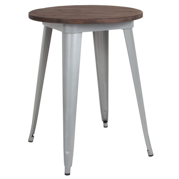 """Wholesale 24"""" Round Silver Metal Indoor Table with Walnut Rustic Wood Top"""