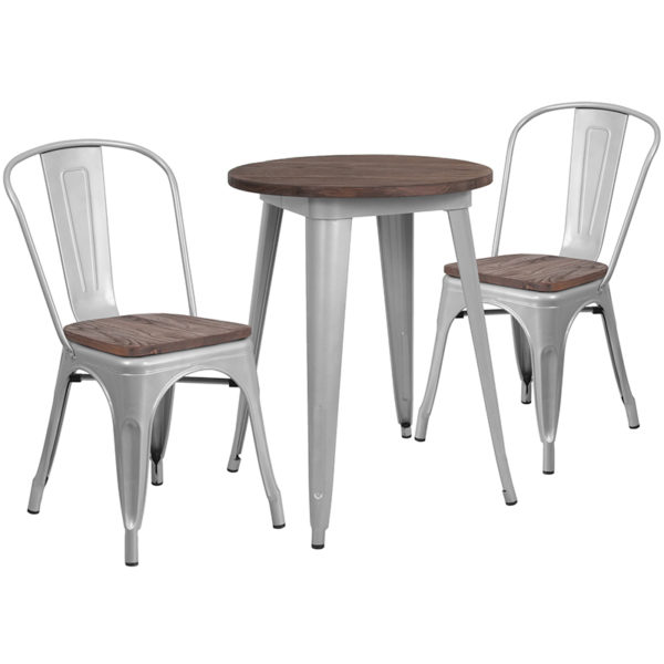"""Wholesale 24"""" Round Silver Metal Table Set with Wood Top and 2 Stack Chairs"""