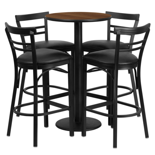 Lowest Price 24'' Round Walnut Laminate Table Set with Round Base and 4 Two-Slat Ladder Back Metal Barstools - Black Vinyl Seat