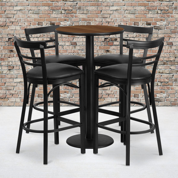Wholesale 24'' Round Walnut Laminate Table Set with Round Base and 4 Two-Slat Ladder Back Metal Barstools - Black Vinyl Seat