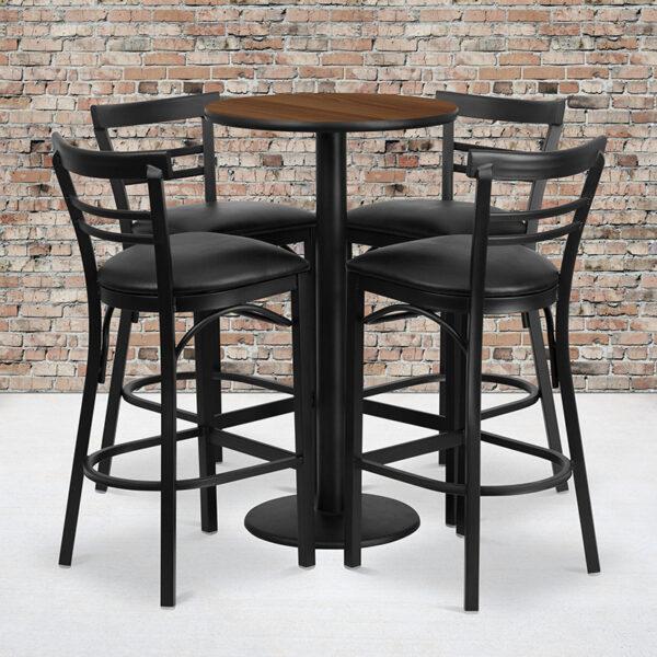 Wholesale 24'' Round Walnut Laminate Table Set with Round Base and 4 Two-Slat Ladder Back Metal Barstools - Black Vinyl Seat