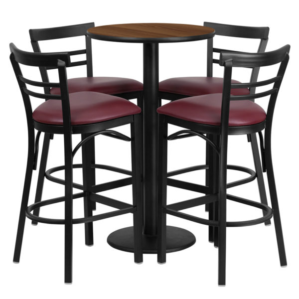 Lowest Price 24'' Round Walnut Laminate Table Set with Round Base and 4 Two-Slat Ladder Back Metal Barstools - Burgundy Vinyl Seat