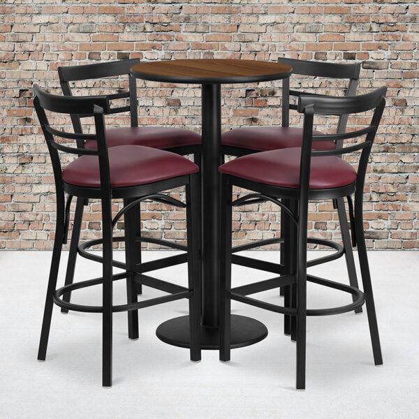 Wholesale 24'' Round Walnut Laminate Table Set with Round Base and 4 Two-Slat Ladder Back Metal Barstools - Burgundy Vinyl Seat
