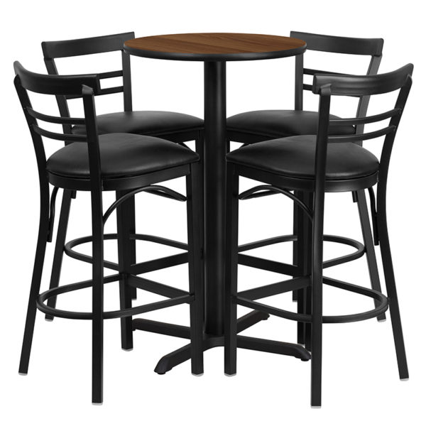 Lowest Price 24'' Round Walnut Laminate Table Set with X-Base and 4 Two-Slat Ladder Back Metal Barstools - Black Vinyl Seat