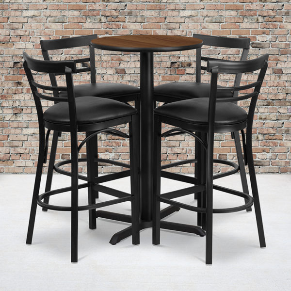 Wholesale 24'' Round Walnut Laminate Table Set with X-Base and 4 Two-Slat Ladder Back Metal Barstools - Black Vinyl Seat