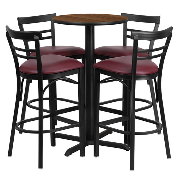 Lowest Price 24'' Round Walnut Laminate Table Set with X-Base and 4 Two-Slat Ladder Back Metal Barstools - Burgundy Vinyl Seat