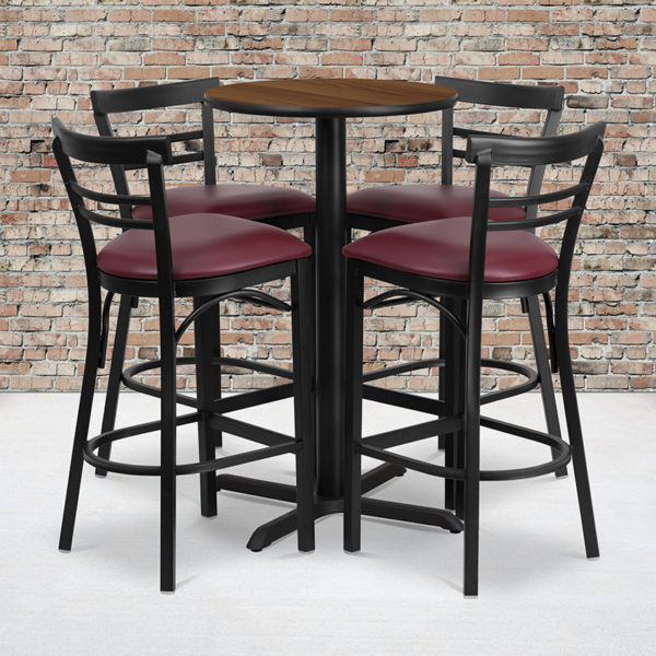 Wholesale 24'' Round Walnut Laminate Table Set with X-Base and 4 Two-Slat Ladder Back Metal Barstools - Burgundy Vinyl Seat